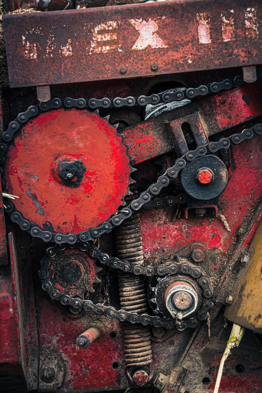 Engine, Übertragung, Metallgetriebe, Kette, Getriebe, Mechanismus, Ingenieurwesen, Mechaniker, alten Stil, Maschine