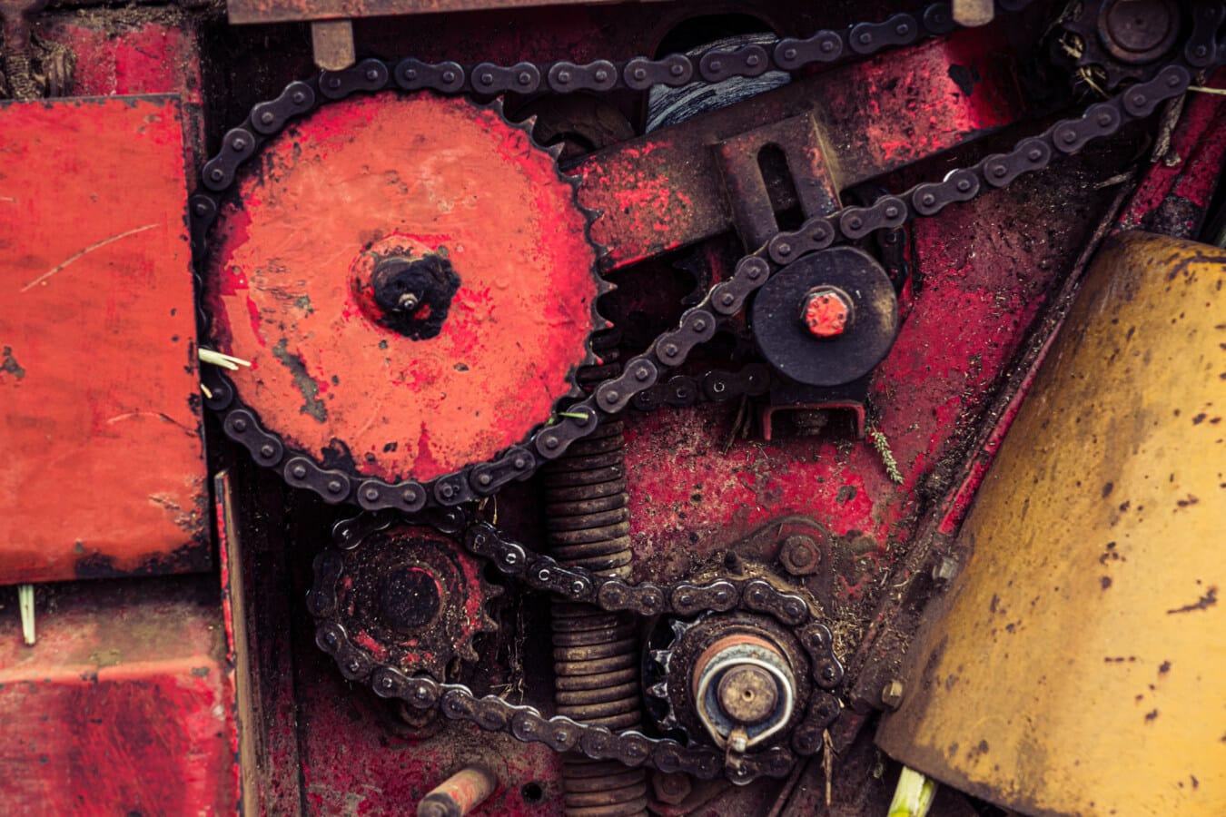 Übertragung, Mechanismus, Mechaniker, Mechanisierung, Getriebe, Metallgetriebe, Metall, Kette, alt, Eisen