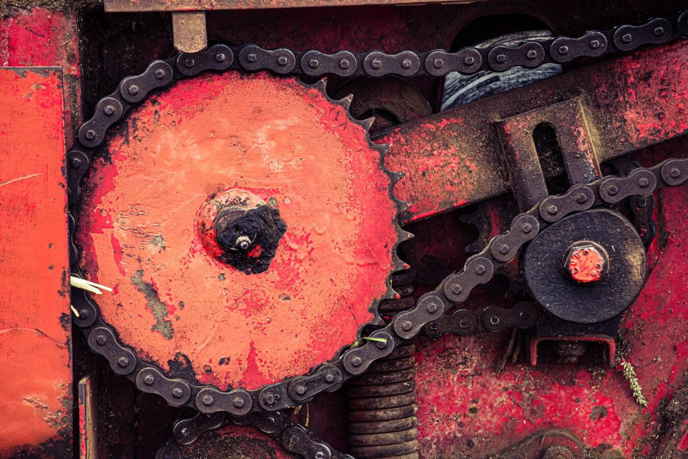 Übertragung, Metallgetriebe, Kette, Getriebe, Metall, Maschine, Mechanismus, Mechaniker, Rost, Eisen