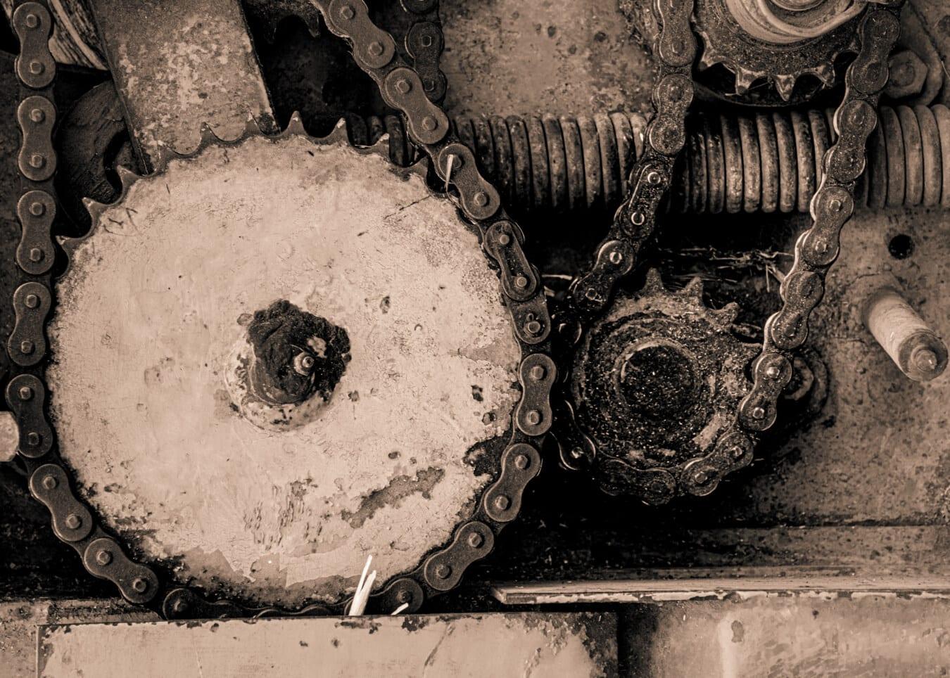 Metal gear, les équipement, metal, machines, sépia, pièces, chaîne, en acier, vieux, art