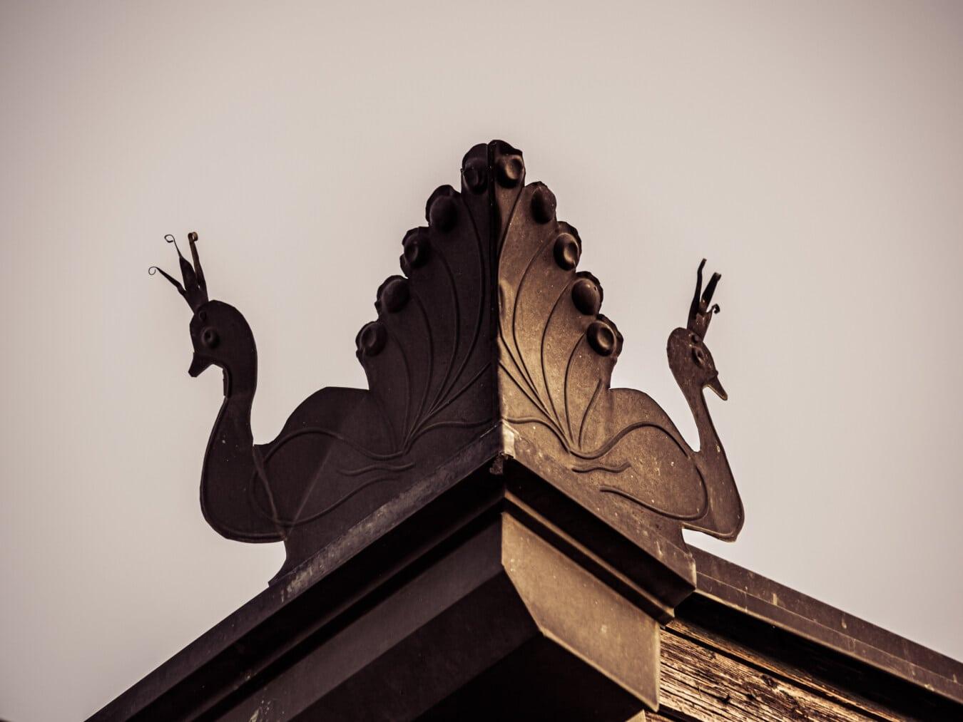 fer de fonte, metal, paon, artistique, toit, architecture, art, vieux, monochrome, conception