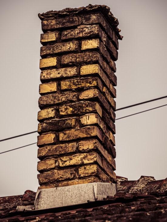 cheminée, briques, toit, vieux, Ruin, abandonné, carie, sur le toit, architecture, brique