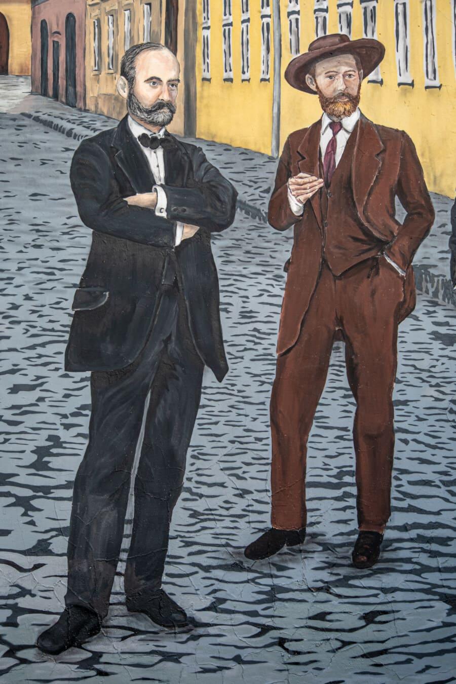 gentilhomme, Hommes, costume de smoking, chapeau, vintage, artistique, rue, Graffiti, illustration, moustache