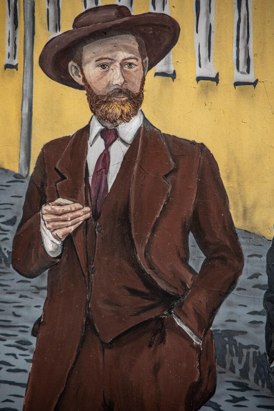 Graffiti, costume de smoking, Cow-Boy, Barbe, chapeau, moustache, homme, croquis, Visual, illustration