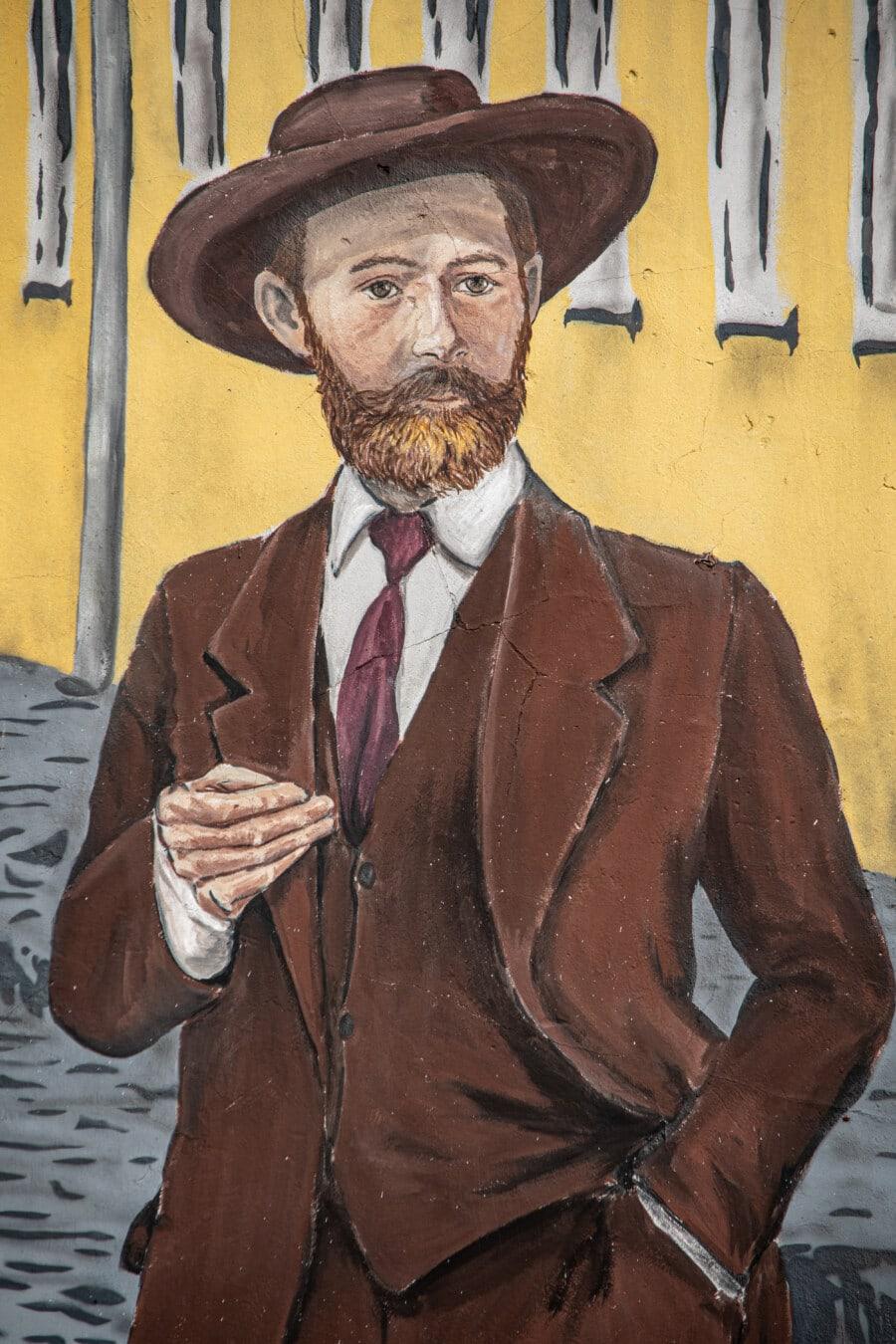 chapeau, vintage, Cow-Boy, Graffiti, gentilhomme, attacher, croquis, illustration, gens, homme