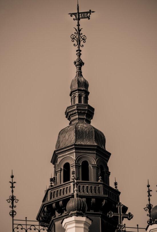 dôme, baroque, sépia, tour, style architectural, fer de fonte, historique, toit, sur le toit, cuivre