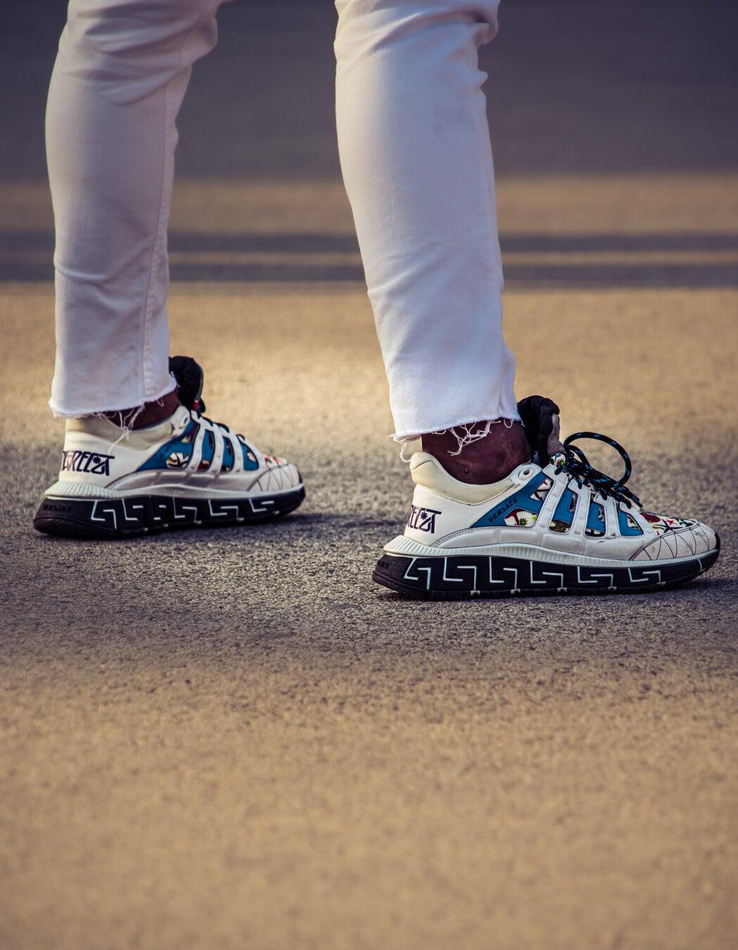 trendy, fantaisie, chaussures de sport, Jeans, Jeans/Pantalons, blanc, paire, en cuir, pied, chaussures