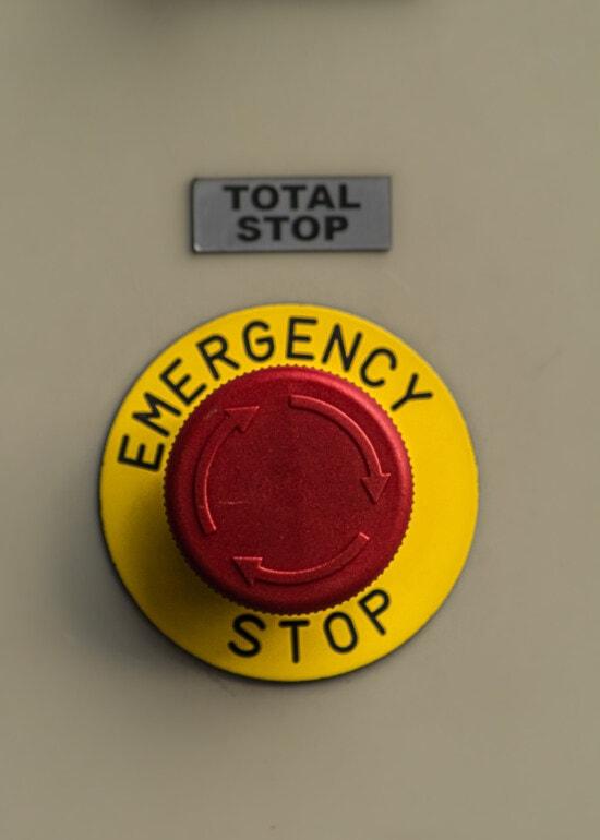 arrêter, d'urgence, bouton, alarme, mise en garde, risque, industriel, signe, conception, texte