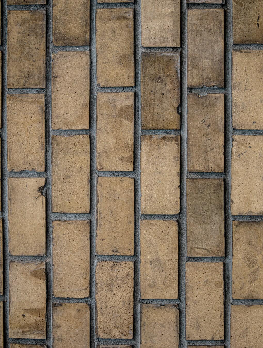vertikale, Ziegel, Mauerwerk, Mörtel, Muster, hellbraun, gewöhnliche, Textur, Würfel, dreckig