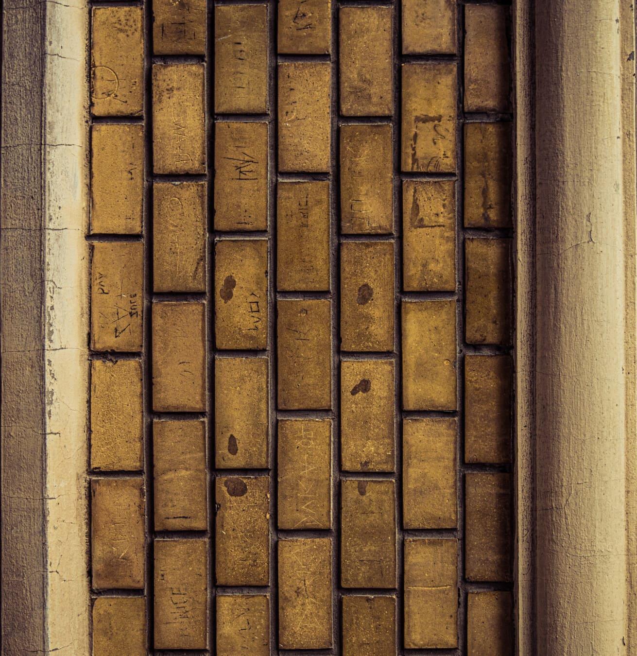 vertical, briques, Grunge, maçonnerie, béton, mortier, vieux, mur, texture, brique