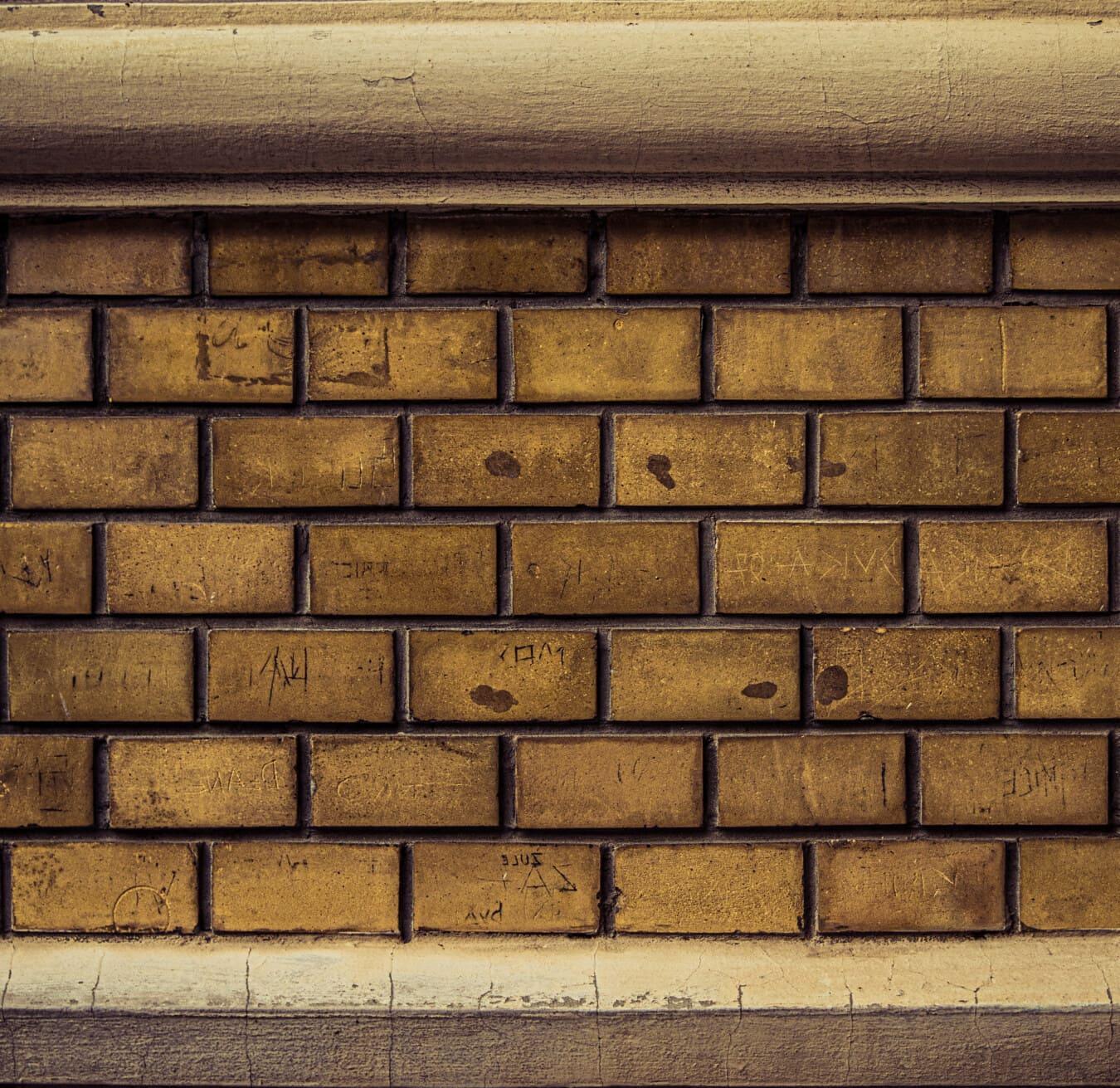 horizontal, brique, mur, brun clair, mortier, briques, maçonnerie, ciment, béton, vieux