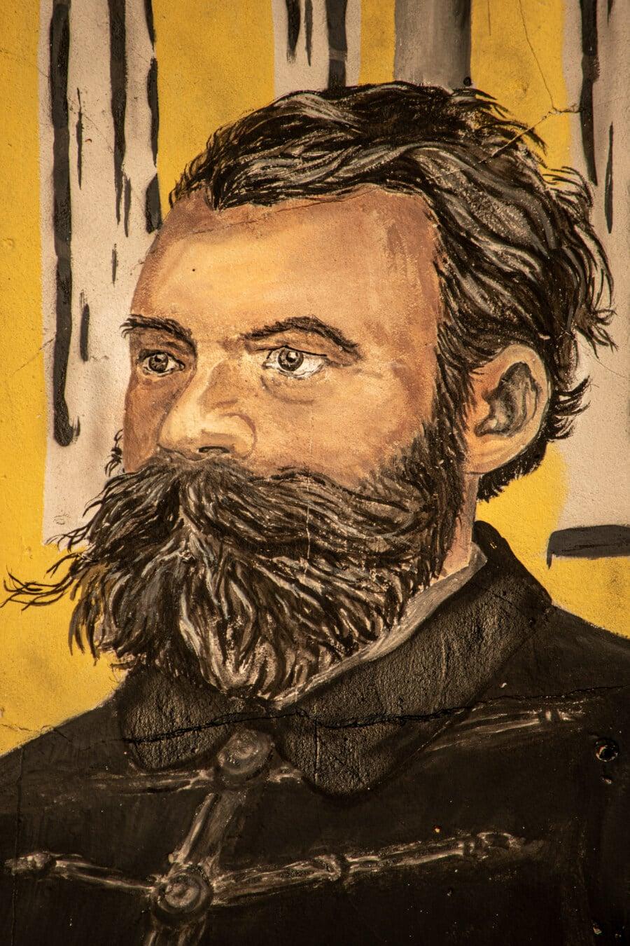 moustache, Barbe, homme, mur, art, rue, Graffiti, tête, fermer, portrait