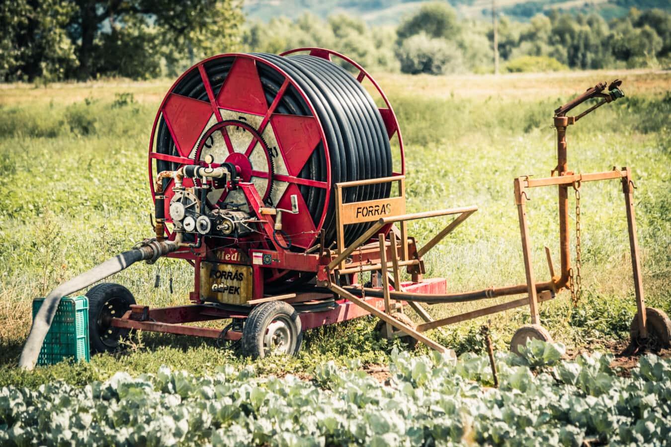 Bewässerung, System, Arbeit vor Ort, Landwirtschaft, Engine, Wasserpumpe, Bewässerung, Pumpe, Gerät, Maschine