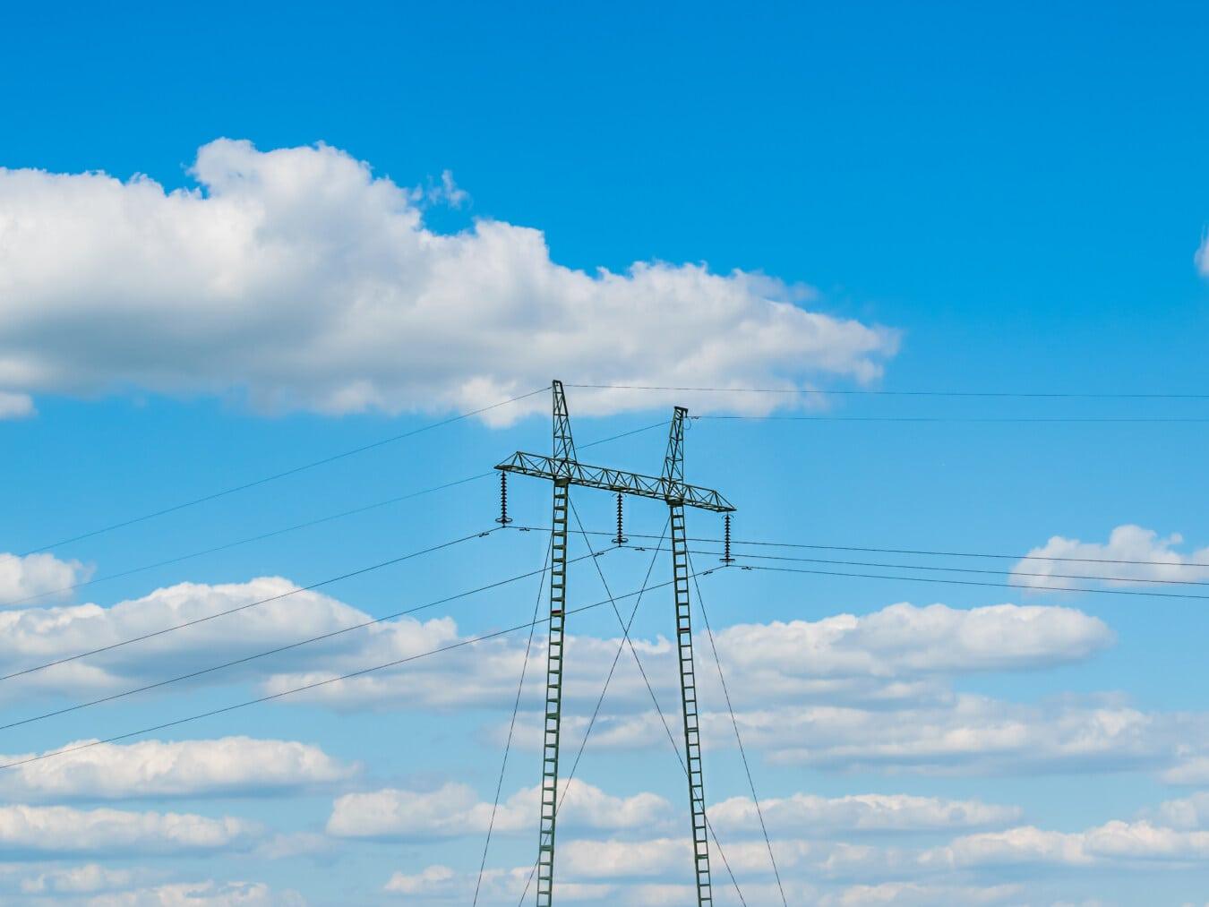 электричество, система, распределение, мощность, напряжения, высокая, пилон, напряжение, кабель, провода