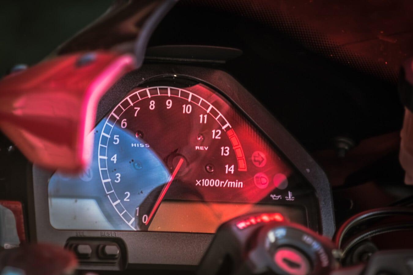 tableau de bord, Vitesse, compteur de vitesse, moto, odomètre, véhicule, instrument, compteur, en voiture, rapide
