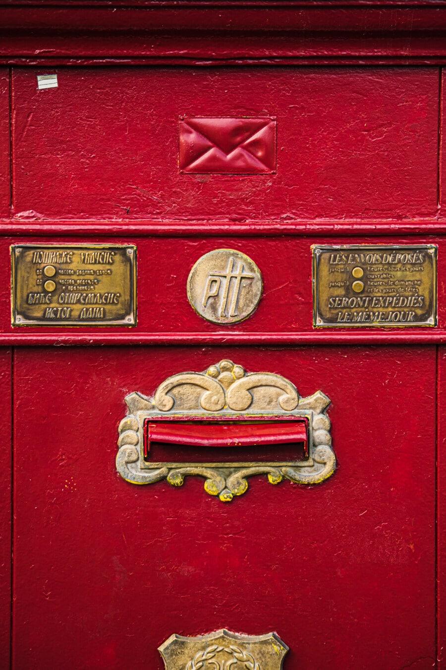 antiquité, boîte de, boîte aux lettres, courrier, vintage, rouge foncé, conteneur, vieux, antique, retro