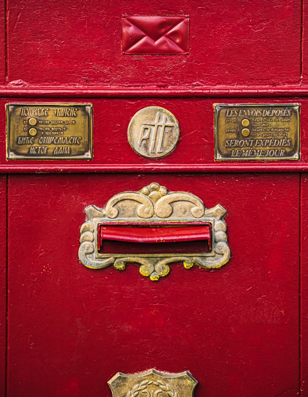 vintage, history, mailbox, cast iron, dark red, mail, container, old, box, retro