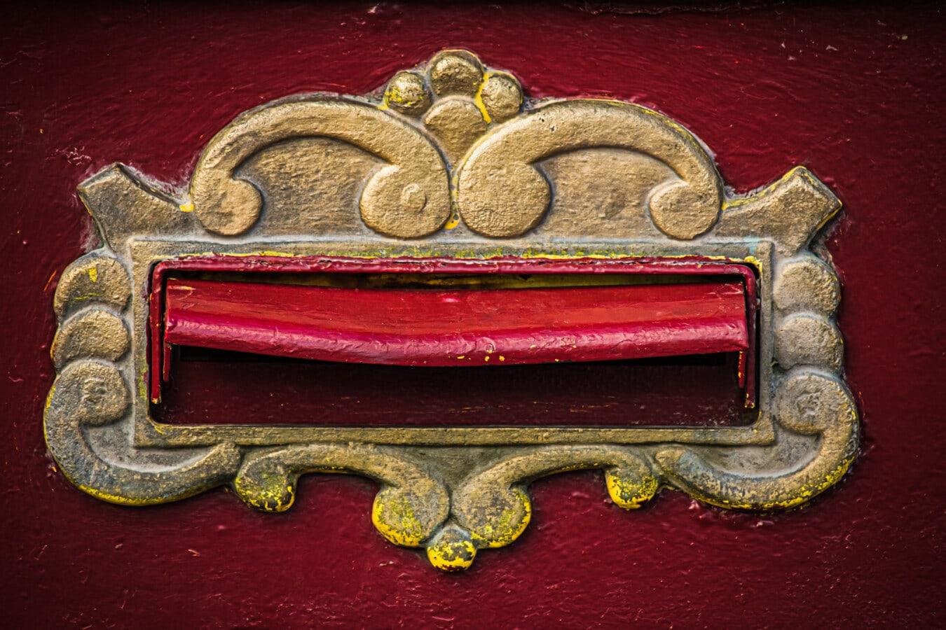 Bronze, Postfach, Ornament, aus Gusseisen, Antik, aus nächster Nähe, Dekoration, Textur, alt, metallische