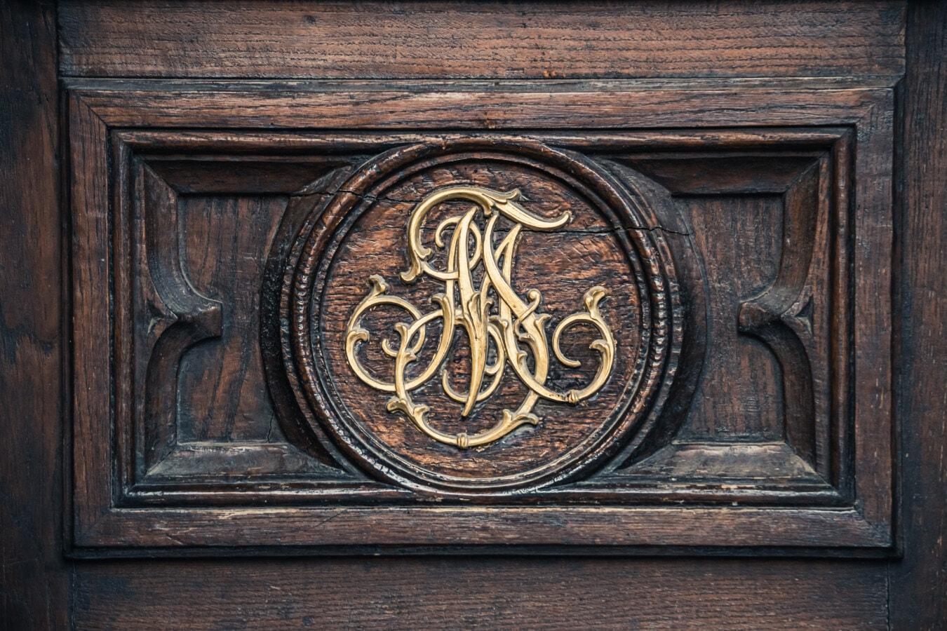 Handwerk, Textur, Tischlerei, Holz, Hartholz, handgefertigte, Schnitzereien, dekorative, Ornament, goldener Glanz