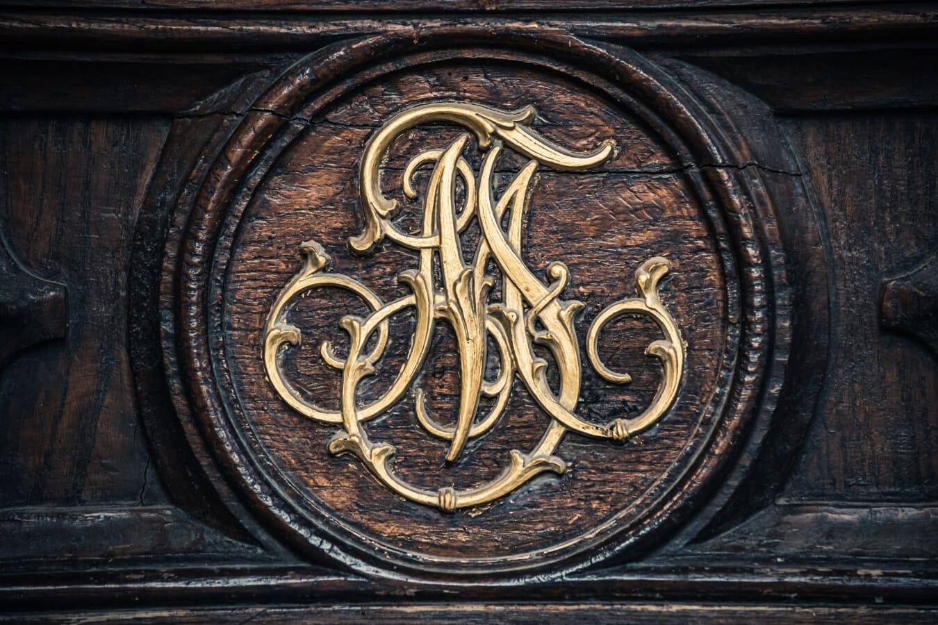 esculturas em, painel de, de madeira, feito à mão, brilho dourado, decoração, exclusivo, carpintaria, símbolo, velho