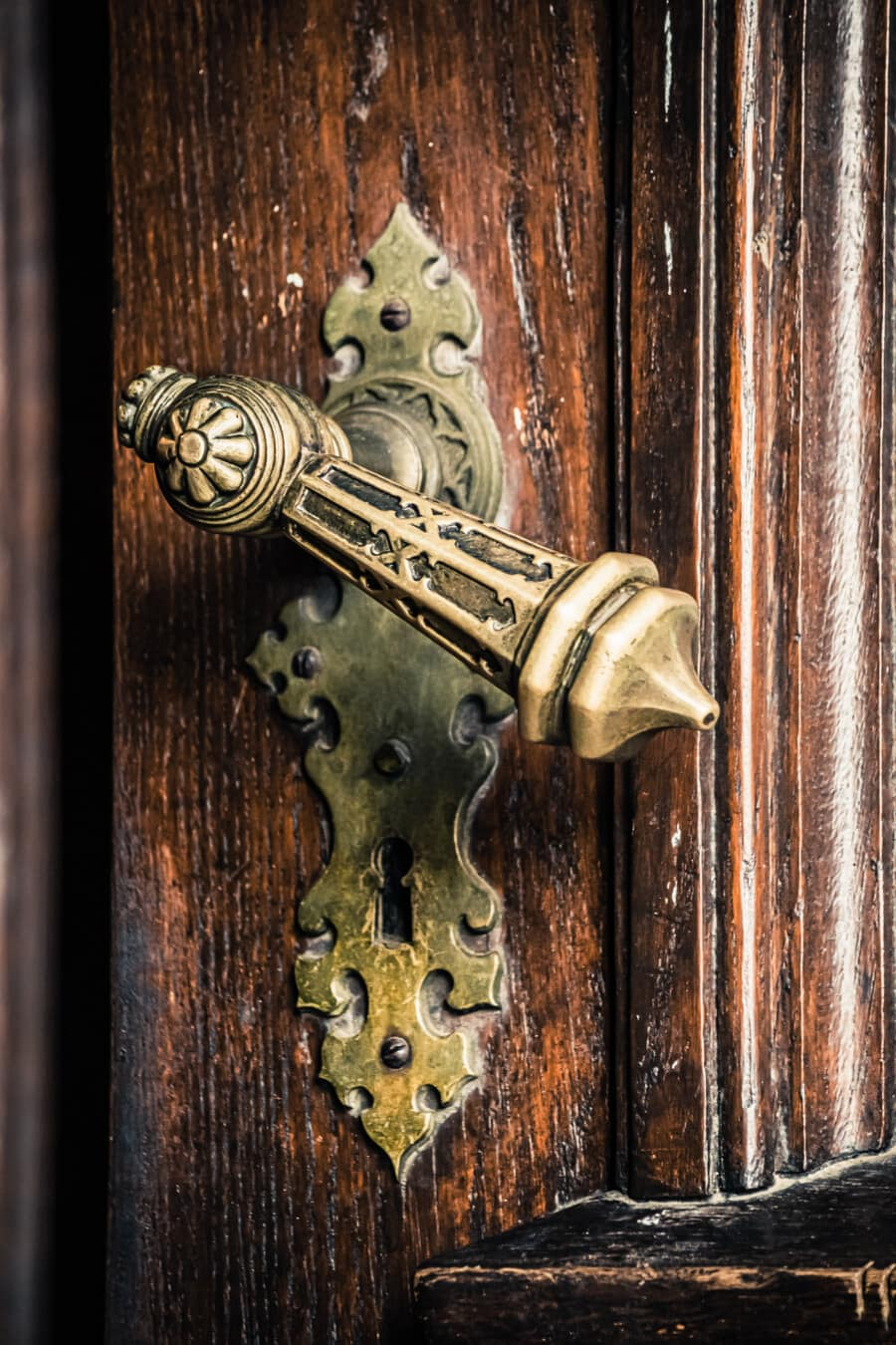 baroque, brass, decoration, front door, handmade, entrance, wood, device, fastener, metal