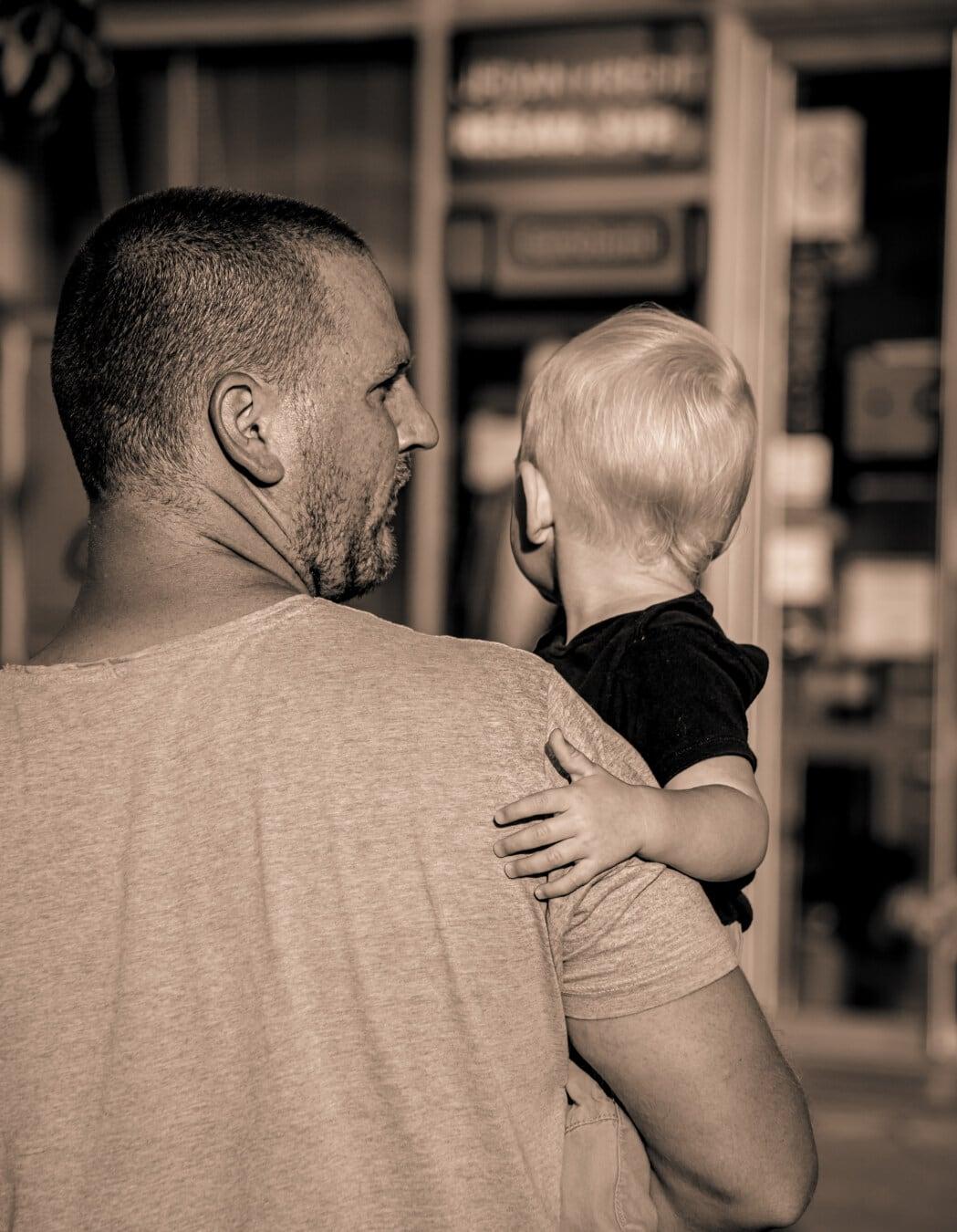 Sohn, Vater, übergeordnete, Elternschaft, untergeordnete, Sepia, Nostalgie, Baby, Mann, Liebe