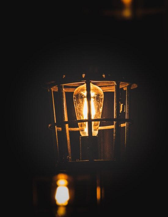 lamp, lantern, old fashioned, handmade, cast iron, dust, dirty, illuminated, light, dark