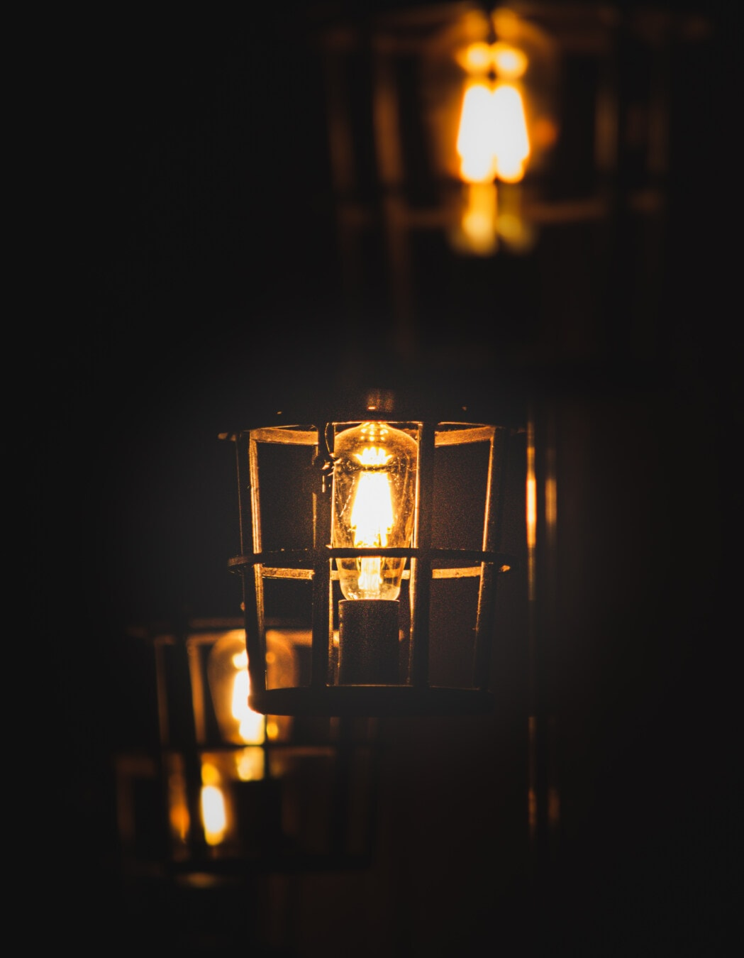 lanterne, style ancien, fer de fonte, ténèbres, morelle, nuit, brun clair, vintage, ampoule, lumière
