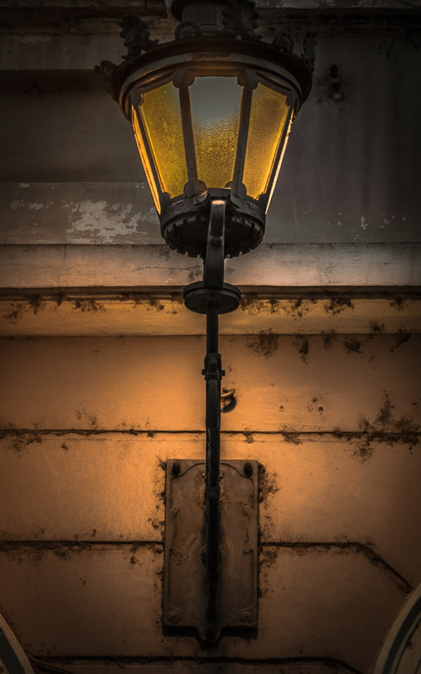 lamp, cast iron, wall, baroque, yellowish brown, light, device, old, retro, dirty
