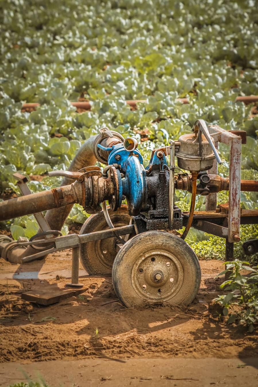 l'arrosage, irrigation, pompe, pompe à eau, pression, pipeline, Pipe, moteur, diesel, outil