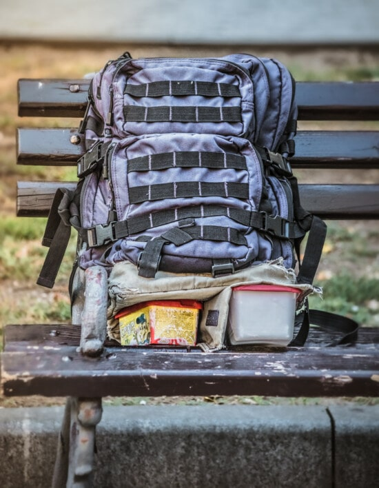 backpack, baggage, bench, travel, seat, luggage, outdoors, adventure, equipment, outside
