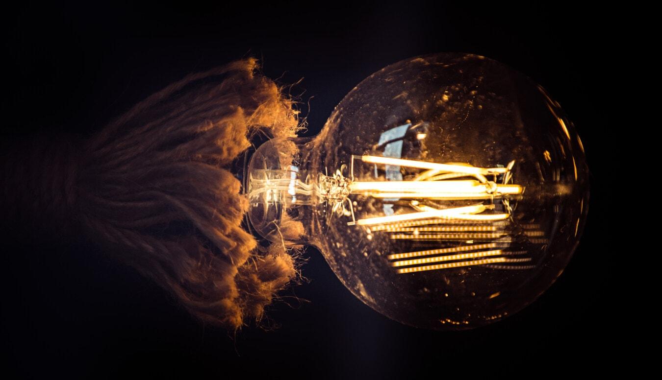 Filament, innen, Glühbirne, Jahrgang, Lumen, Licht, Dunkel, Wissenschaft, hell, Energie