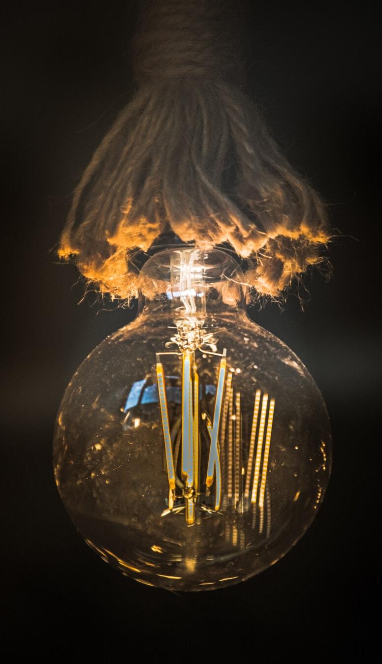 lyspære, hengende, tau, lyse, lumen, fakkel, luminescence, metalltråd, flamme, varmt