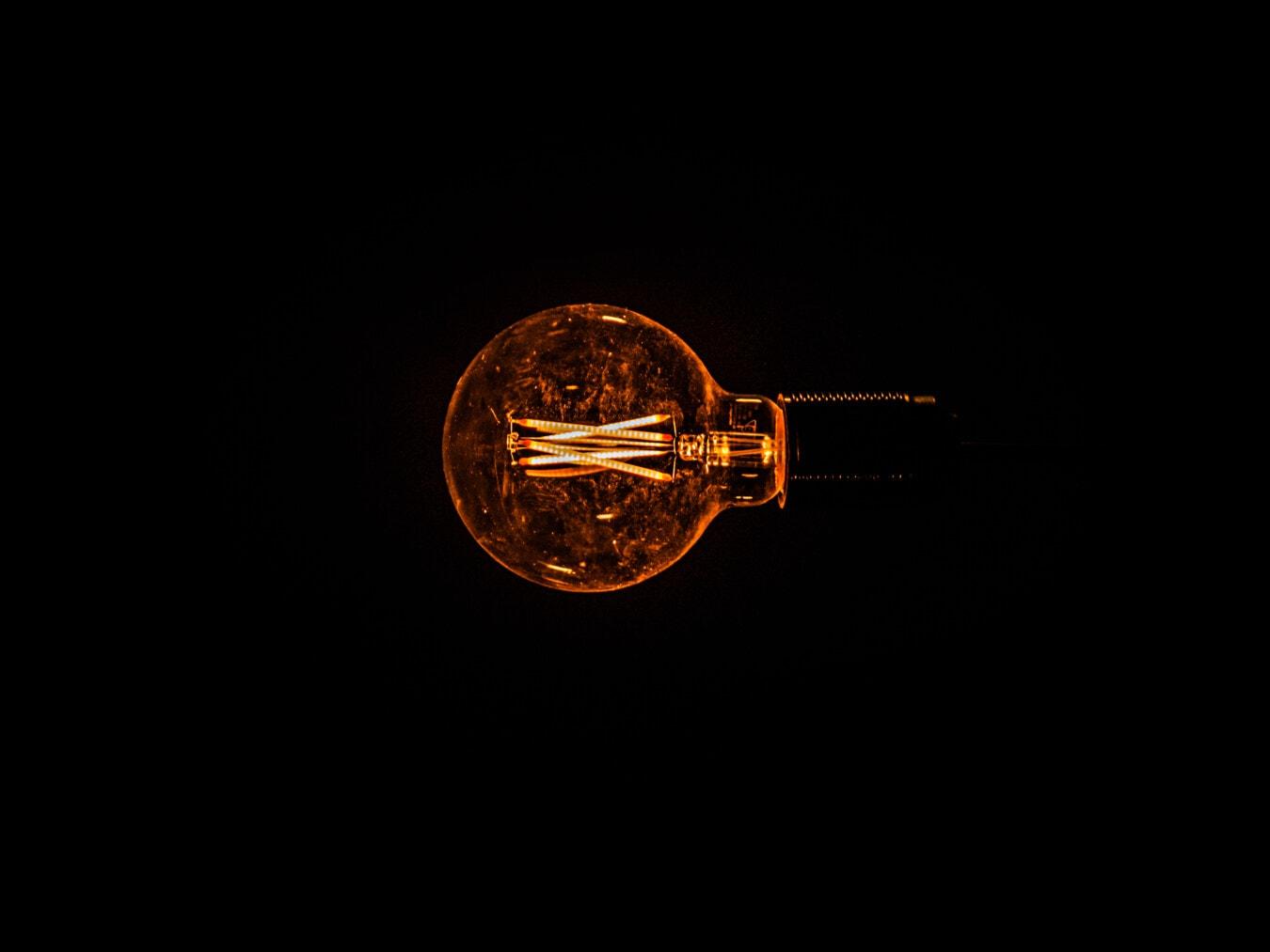 historic, old style, vintage, light bulb, background, black, flare, wires, lamp, dark