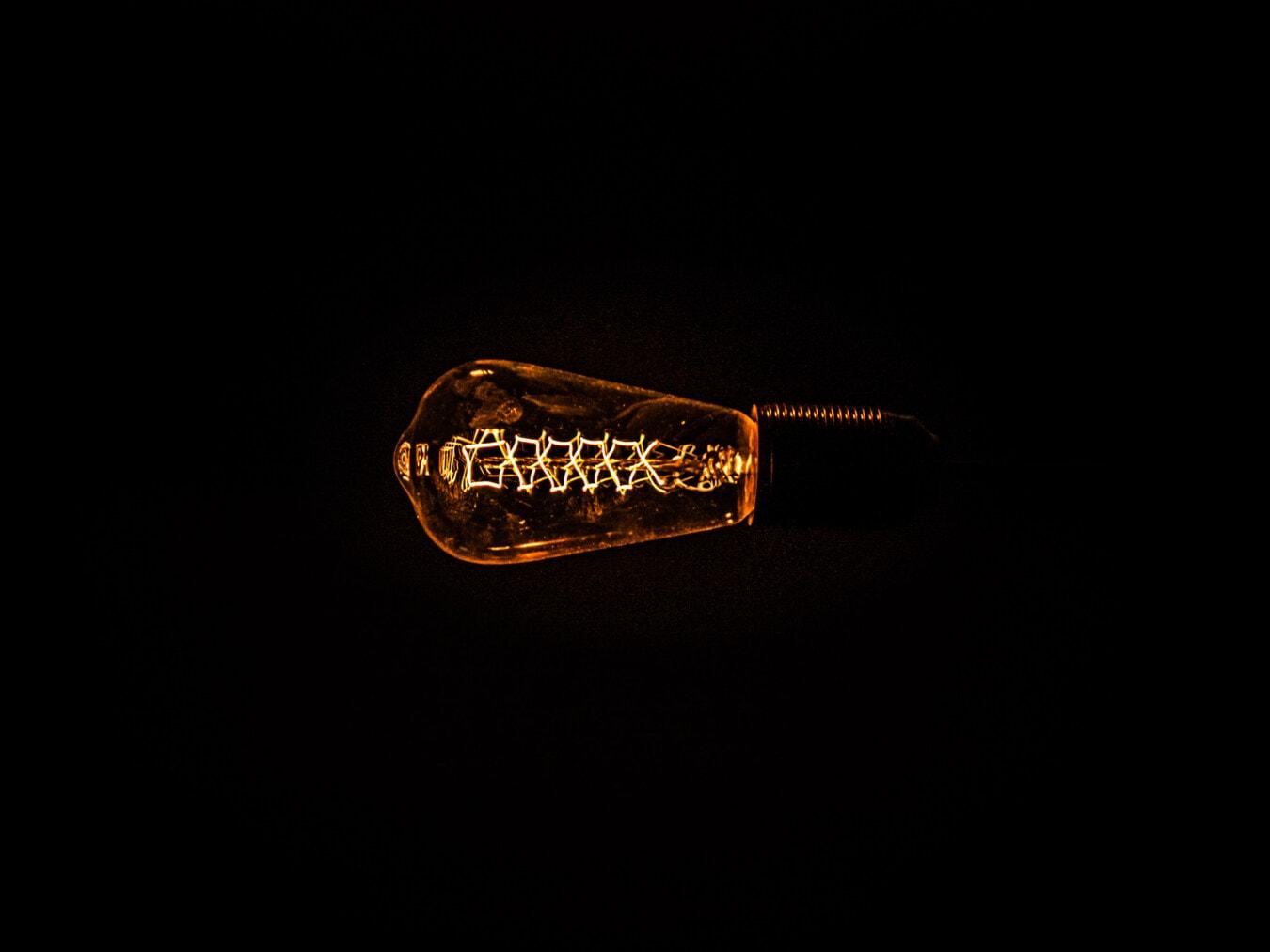Fackel, Schatten, Filament, Glühbirne, Jahrgang, historische, Hintergrund, Schwarz, Reflexion, Dunkel