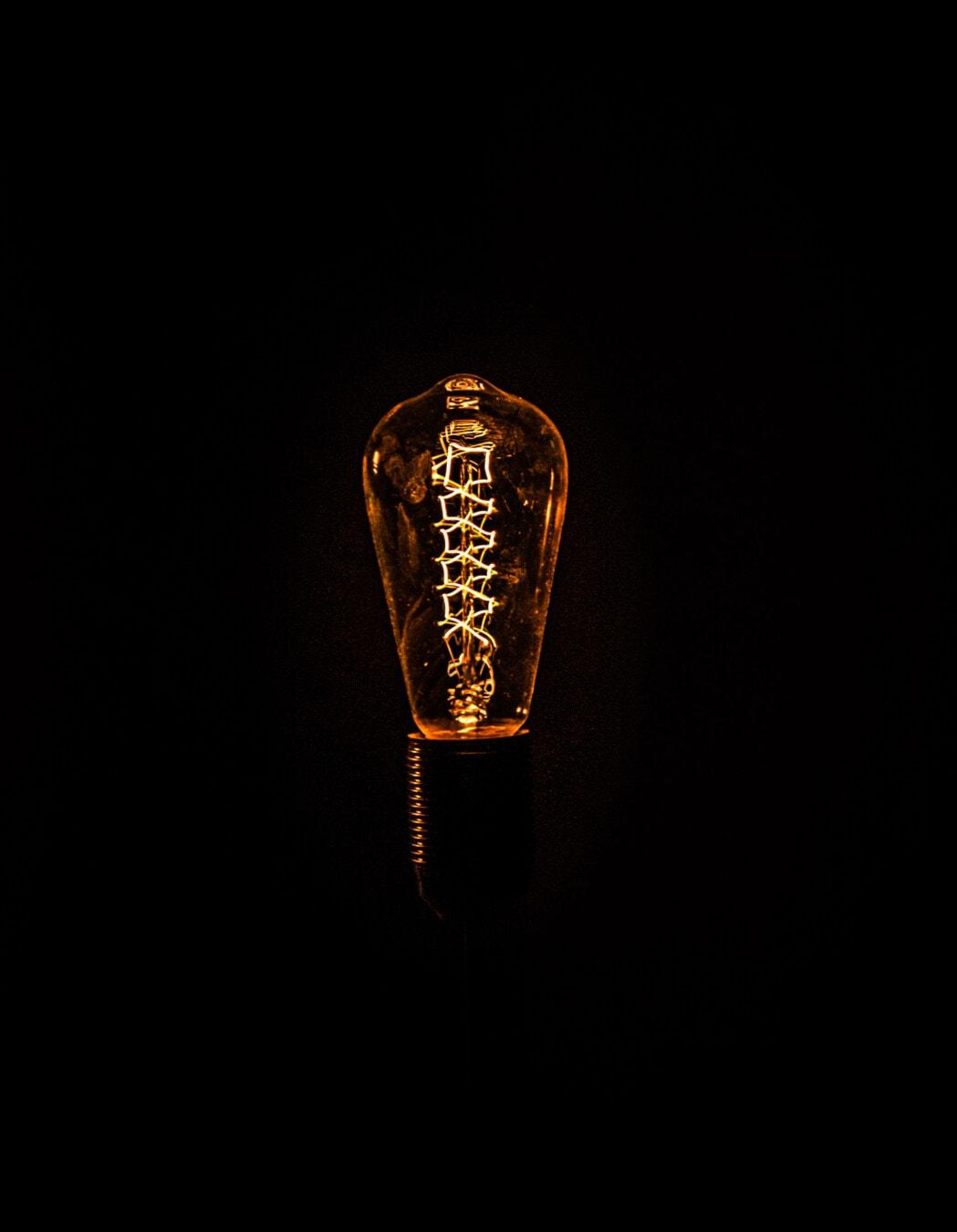 черно, фон, електрическа крушка, проводници, нажежаема жичка, реколта, изобретение, детайли, енергия, Тел