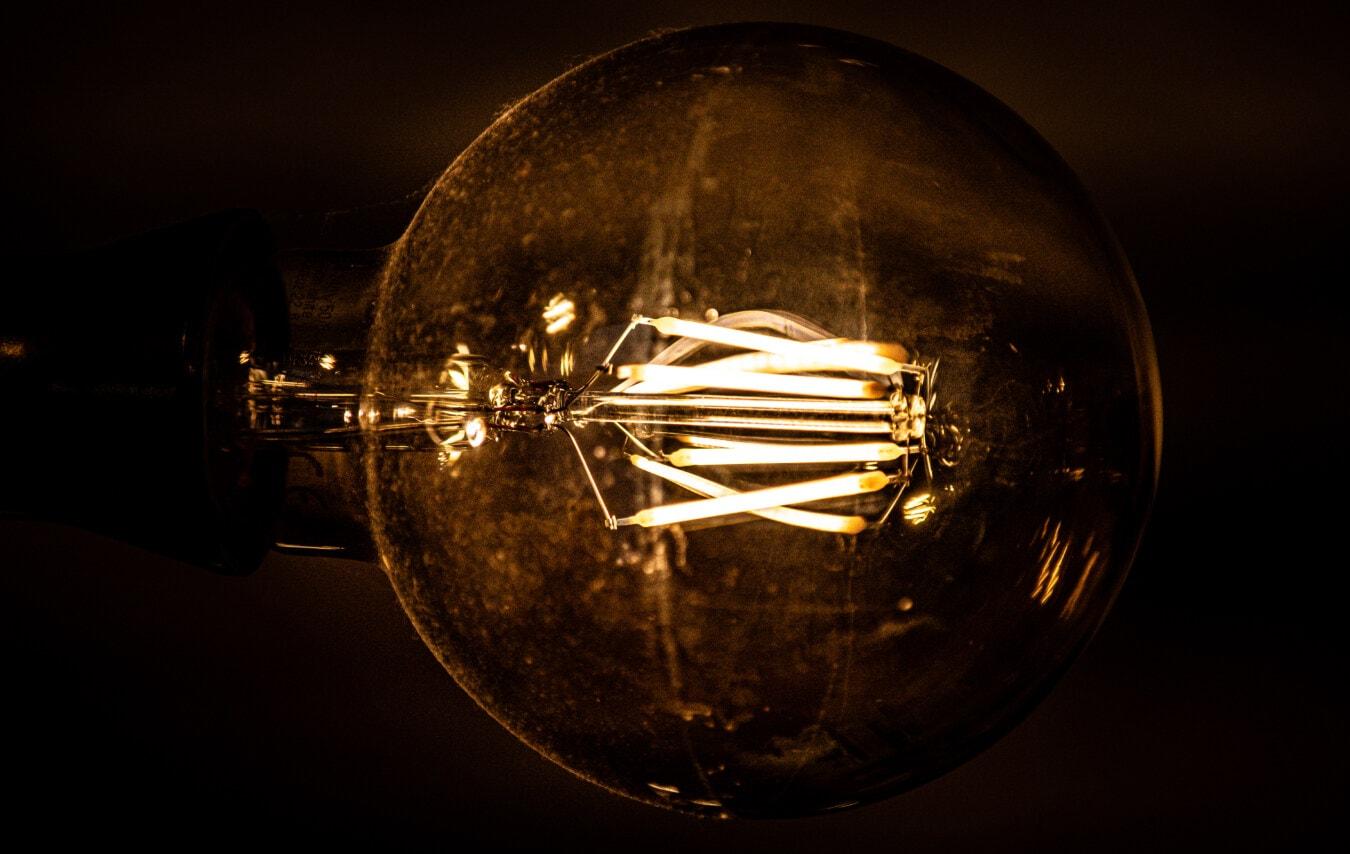 jasne, żarówki, światło, ciemności, flary, zbliżenie, odbicie, żarówki, energii elektrycznej, Przewody