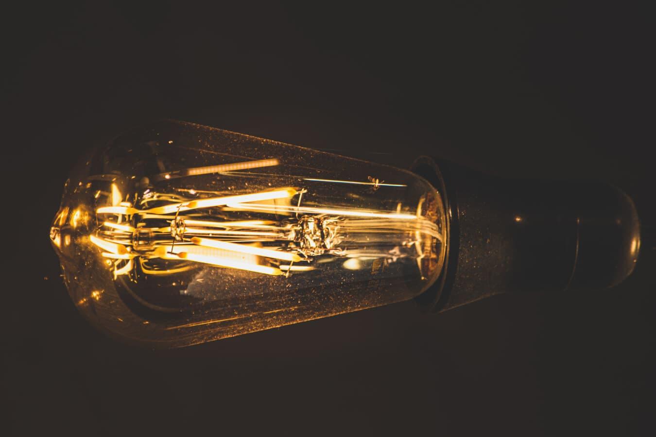 sépia, à l'intérieur, ampoule, filament, fils, vintage, FLARE, luminosité, lampe, électricité