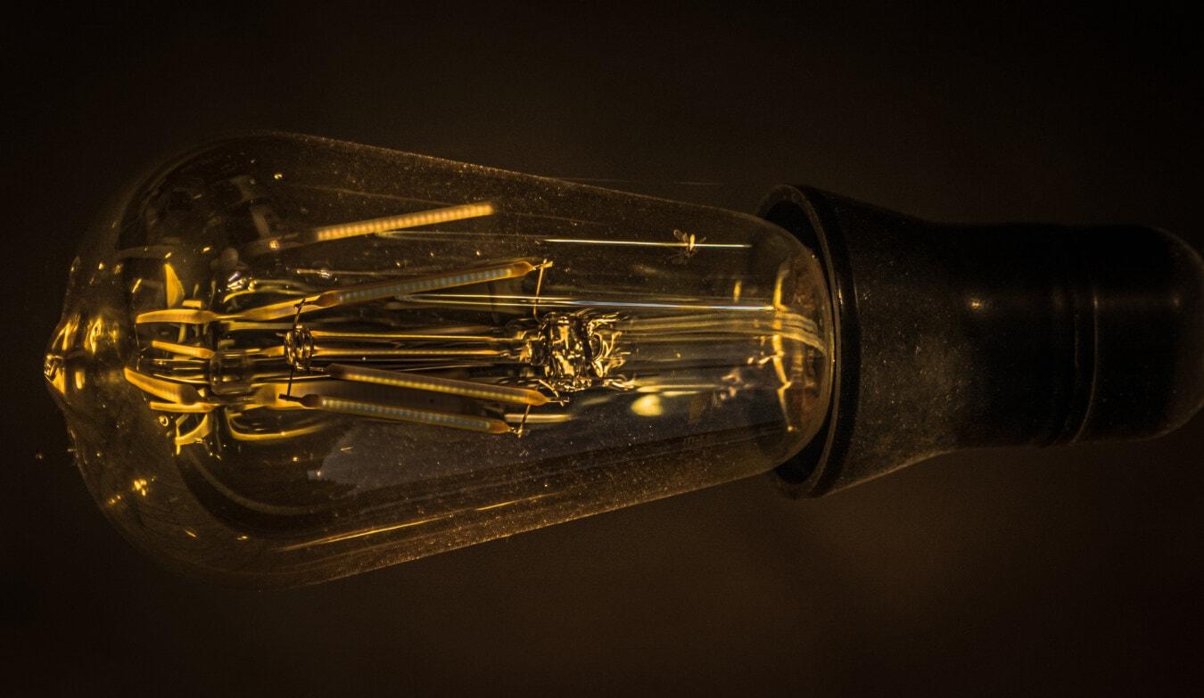 電球, 内部, 古い, 古いスタイル, マクロ, フィラメント, ヴィンテージ, 電気, ワイヤ, スティル ・ ライフ