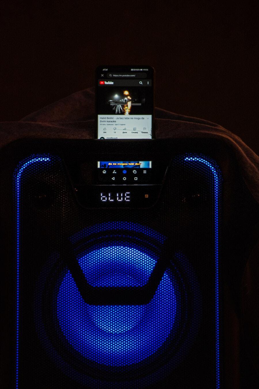 drahtlose, Lautsprecher, Mobiltelefon, Verstärker, Song, Musik, Technologie, Ausrüstung, Elektronik, Intensität