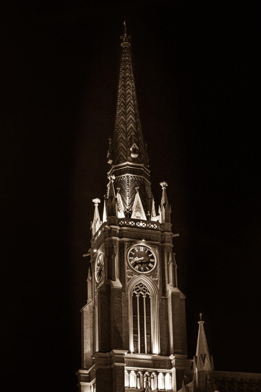 sépia, steeple, nuit, cathédrale, église, catholique, style architectural, gothique, point de repère, architecture
