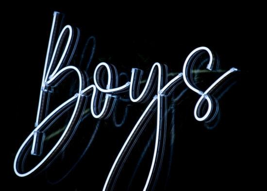 lumière, signe, Néon, garçons, symbole, futuriste, arrière-plan, noir, sombre, typographie