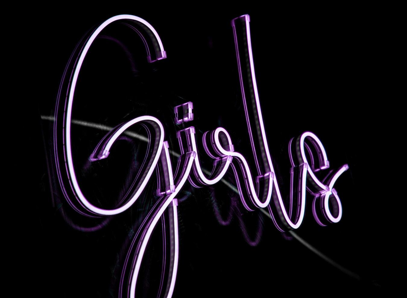 neon, sign, purplish, text, girls, typography, violet, black, symbol, creative