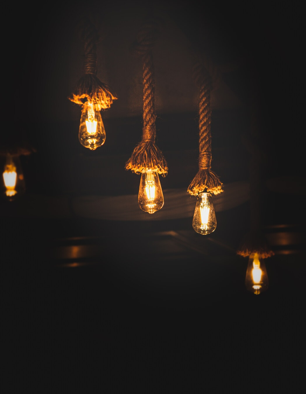 ljuskrona, handgjorda, rep, vintage, glödlampa, tak, lampan, lykta, ljus, belysta