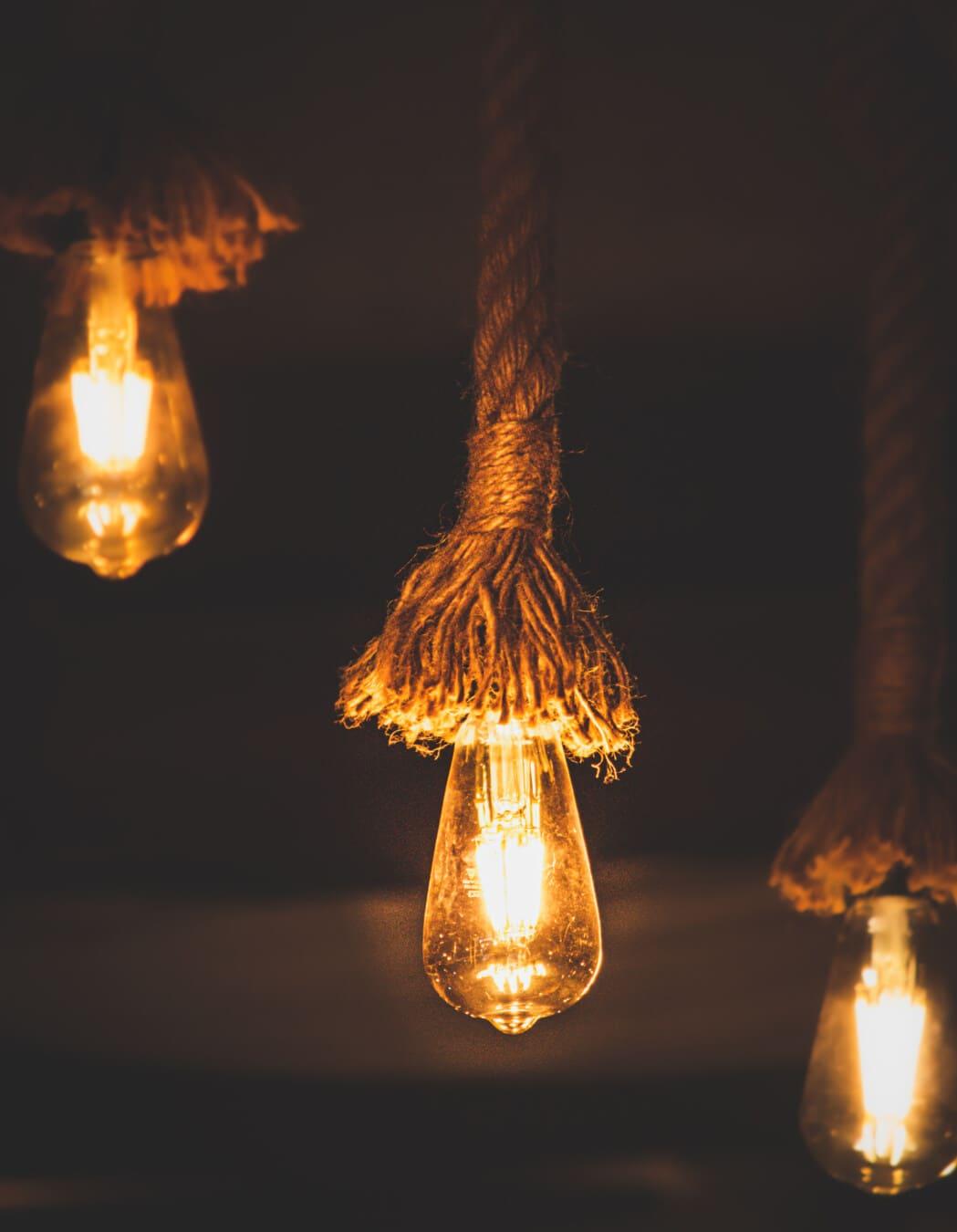 uređenje interijera, starinsko, električna žarulja, vješanje, ručni rad, uže, hlad, električna energija, osvijetljeno, svijetlo