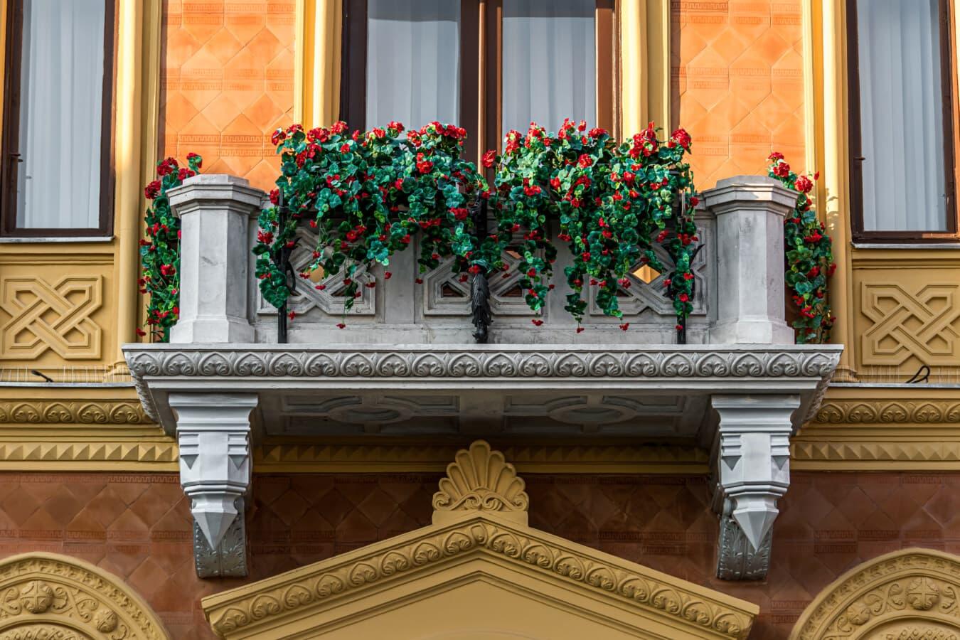 balcon, marbre, Pierre, extérieur, pot de fleurs, baroque, style, structure, bâtiment, architecture