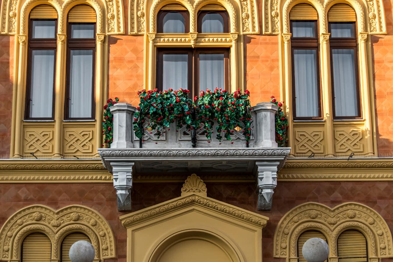 Balkon, Palast, Haus, Residenz, fenster, Barock, Architektur, Fassade, alt, Fenster