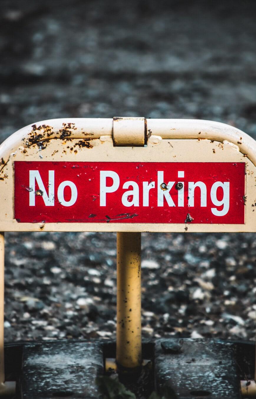Parkplatz, Barriere, Symbol, Beachten Sie, Warnung, Zeichen, im Feld, im freien, Verkehr, Signal