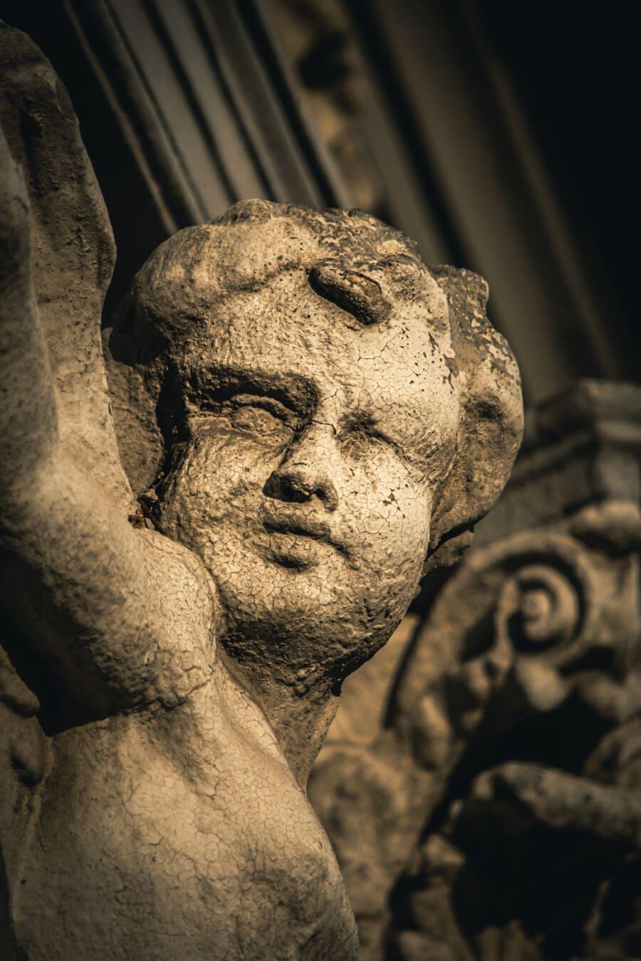 angel, sculpture, child, face, decay, old, stone, art, portrait, statue