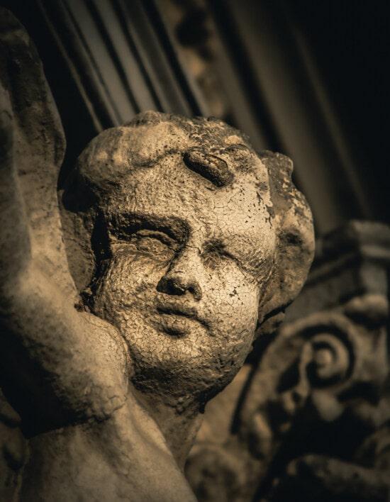 angel, sculpture, child, decay, stone, monochrome, statue, portrait, art, old